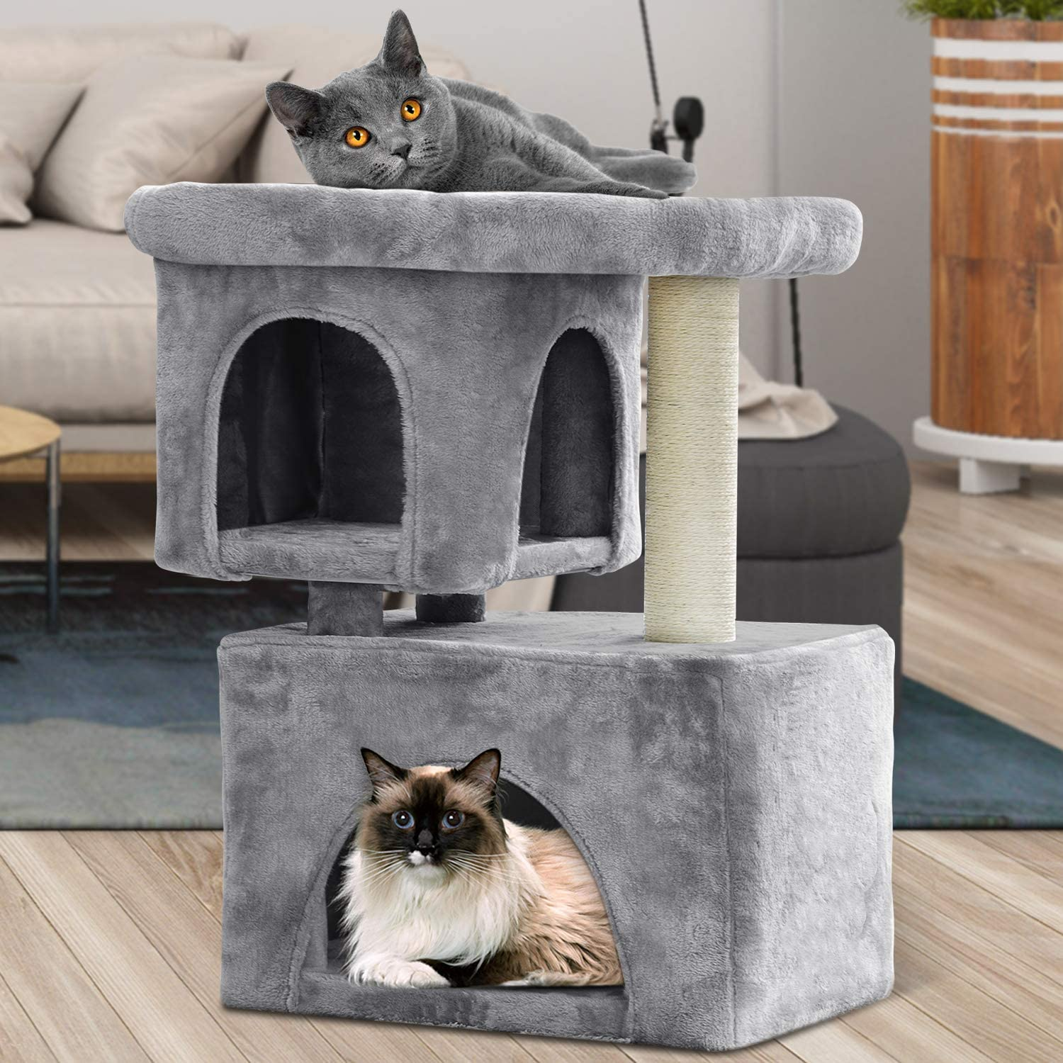 BEAU JARDIN Cat Tree for Large Cats Heavy Cat Condos and Towers for Big Cats with XL Condo and Perch Cat Tower with Scratching Post Cat Scratch Tree Furniture House Climbing Tower Kitty Condos