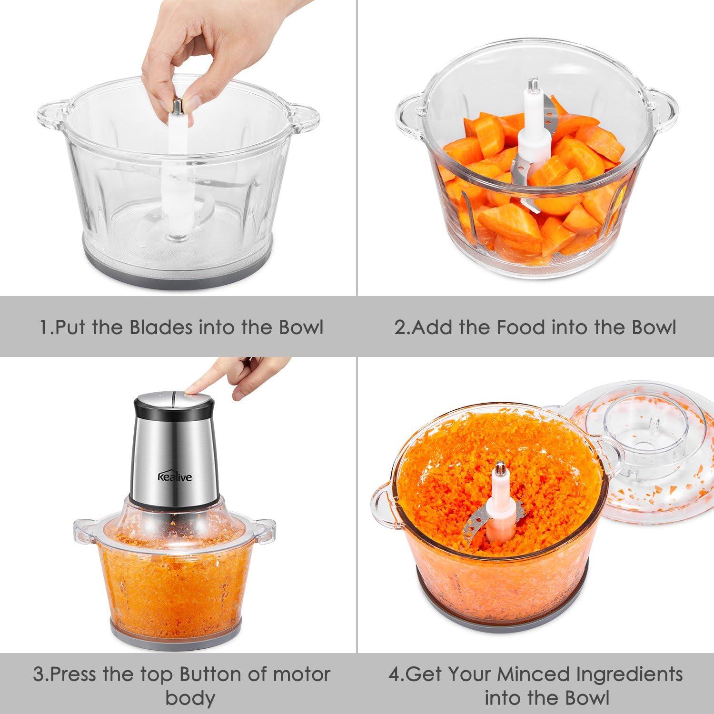 Kealive Procesador de Alimentos Electrico Universal Trituradora para Verduras Frutas y Carne Picadora Electrica de Alimentos con Recipiente de 1.5L 400W