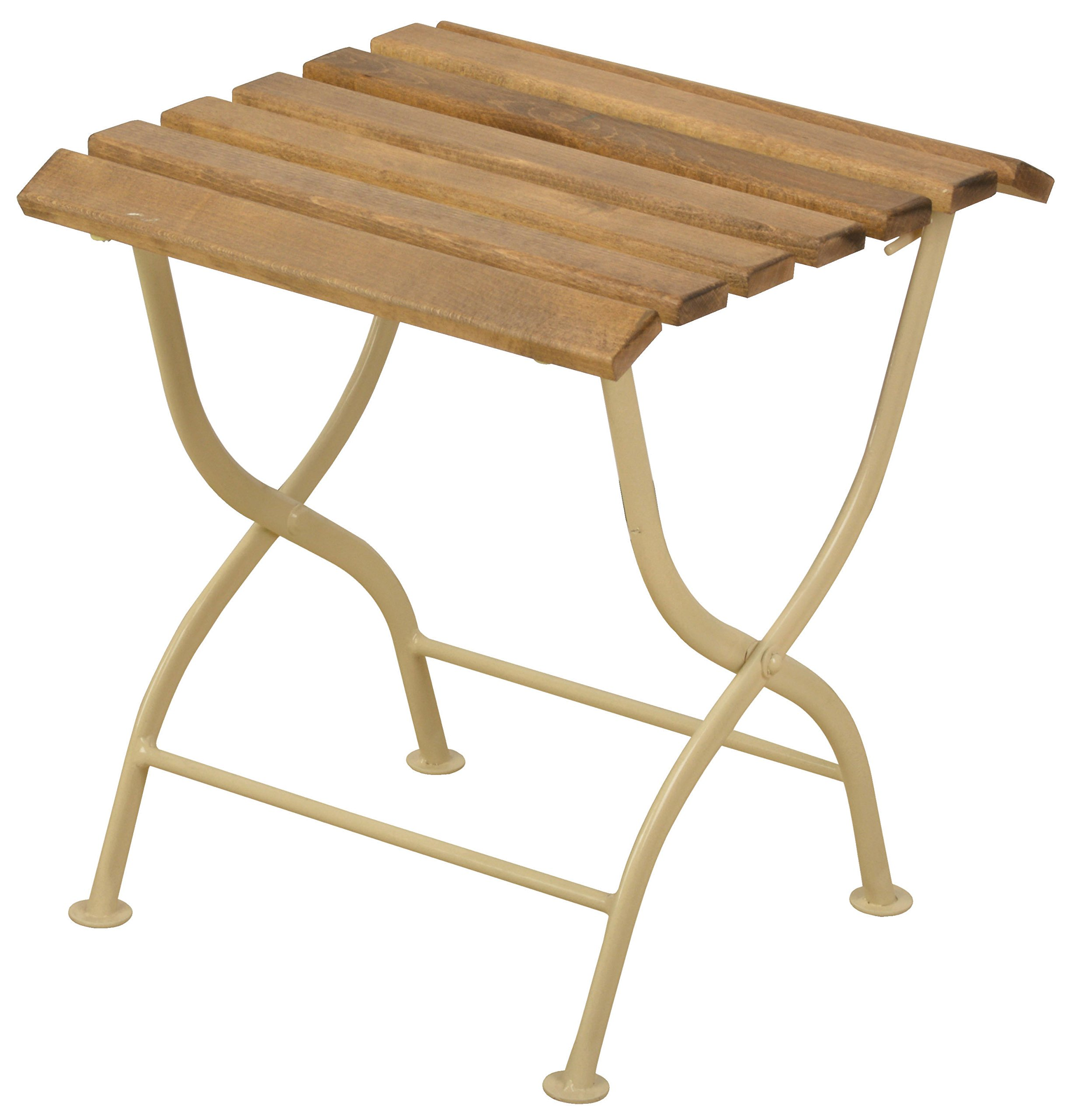 Esschert Design MF005C Metal Side Table - Summer time means long days in the open air and enjoying the beautiful weather The material combination of wood and metal creates a timeless and pure design This foldable side Table is the perfect Table to quickly create more space - patio-tables, patio-furniture, patio - 81Ev2wzfbwL -