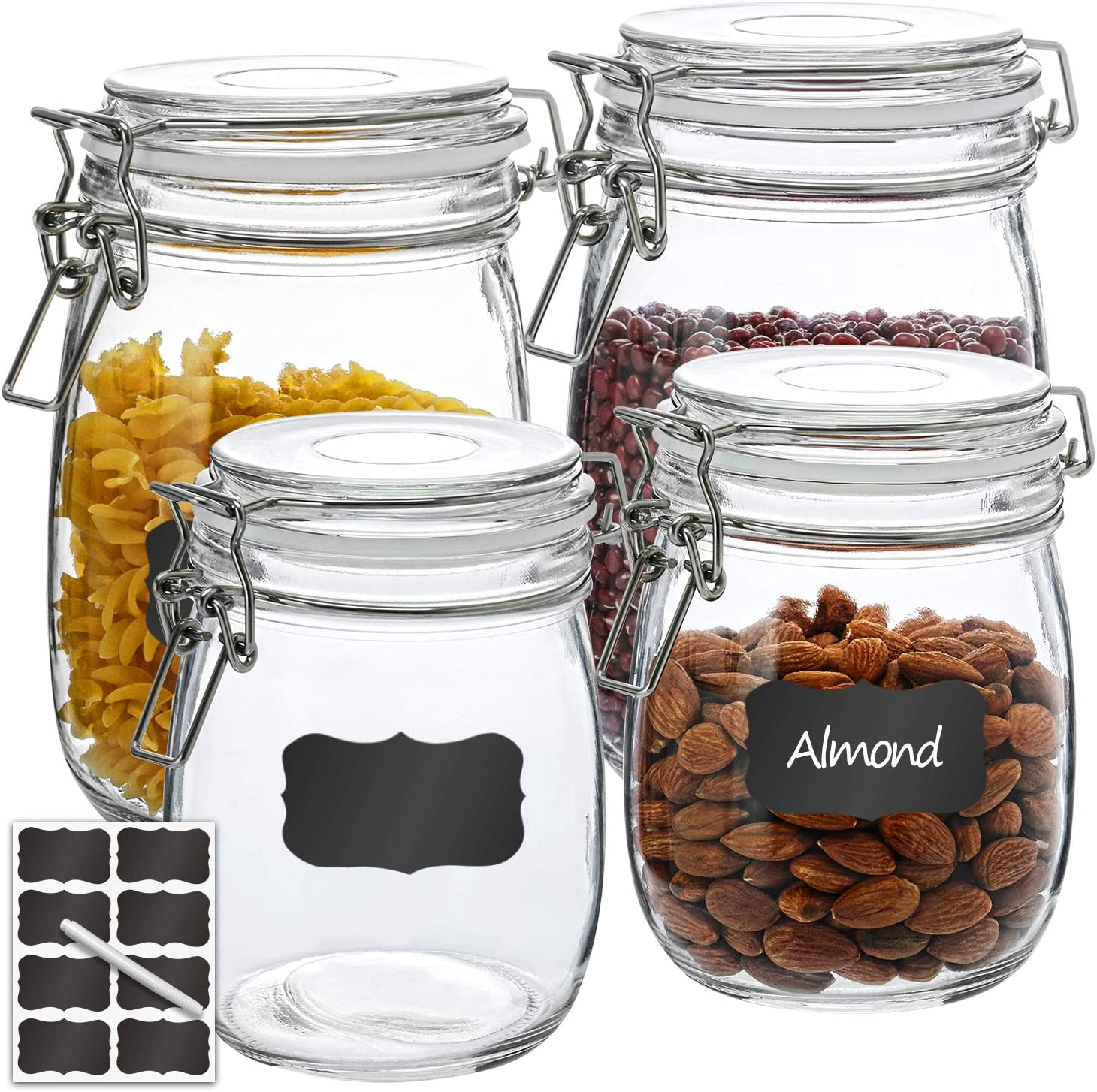 Airtight Glass Jars, RAZCC 2 PACK 27 OZ & 2 PACK 32 OZ Round Glass Canister Set with Wide Mouth Leak-Proof Fit for Food Storage, Canning, Cereal Container