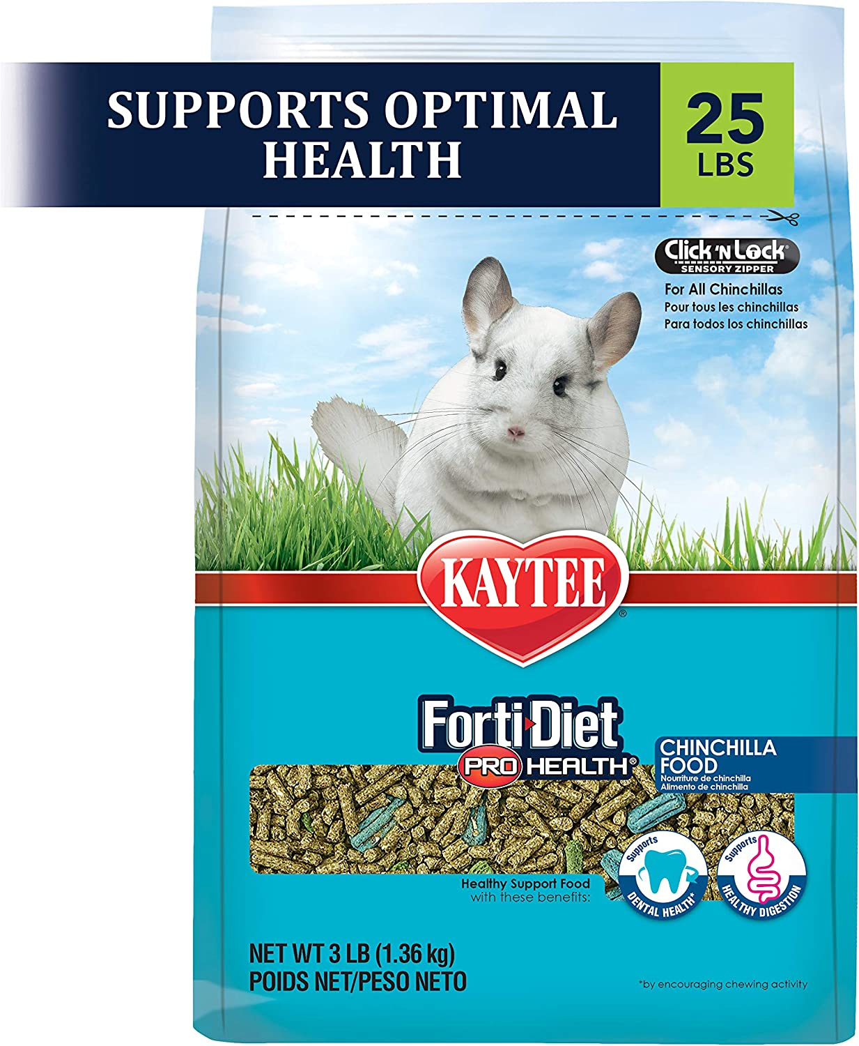 Kaytee Forti Diet Pro Health Small Animal Food For Chinchillas, 25-Pound