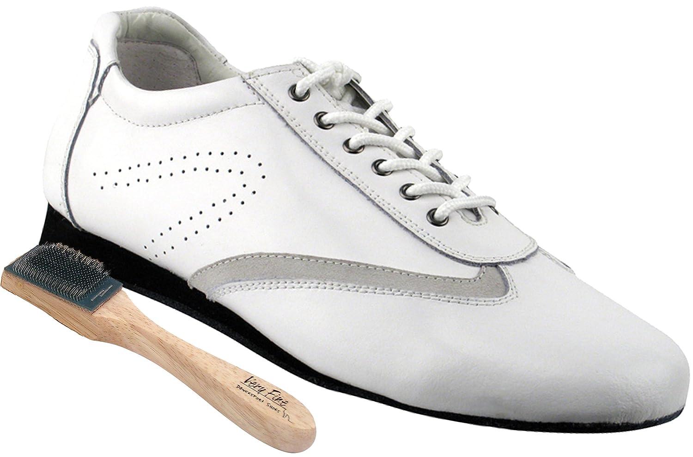 White Leather 5 US Women 5 Very Fine Mens Womens Salsa Ballroom Latin Dance Shoes Style SERO104 Bundle with Dance Shoe Wire Brush