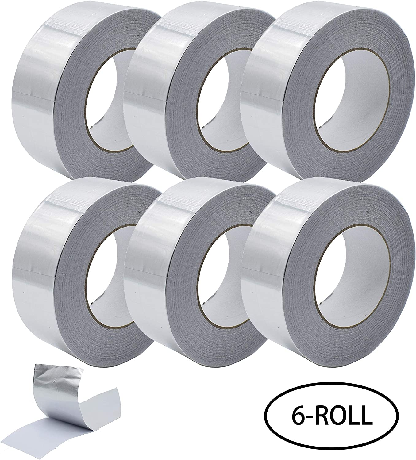 Aluminum Foil Tape, Aluminum Air Duct Tape, Professional Adhesive Aluminum Foil Tape for HVAC, Pipe, 2 in x 55 yd(3.9mil), 6-Roll Multi Pack