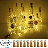 Wine Bottle Lights with Cork, LoveNite 10 Pack Battery Operated LED Cork Shape Silver Copper Wire Colorful Fairy Mini String Lights for DIY, Party, Decor, Christmas, Halloween,Wedding (Warm White)