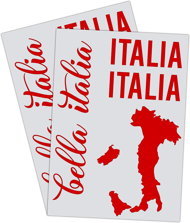 Printattack P066 Italien Flagge 2er Set Dina4 Mit Verschiedenen Motiven Italien Karte Universal Aufkleber Fahne Auto Motorrad Caravan Wohnmobil Roller Tricolore Blutrot Auto
