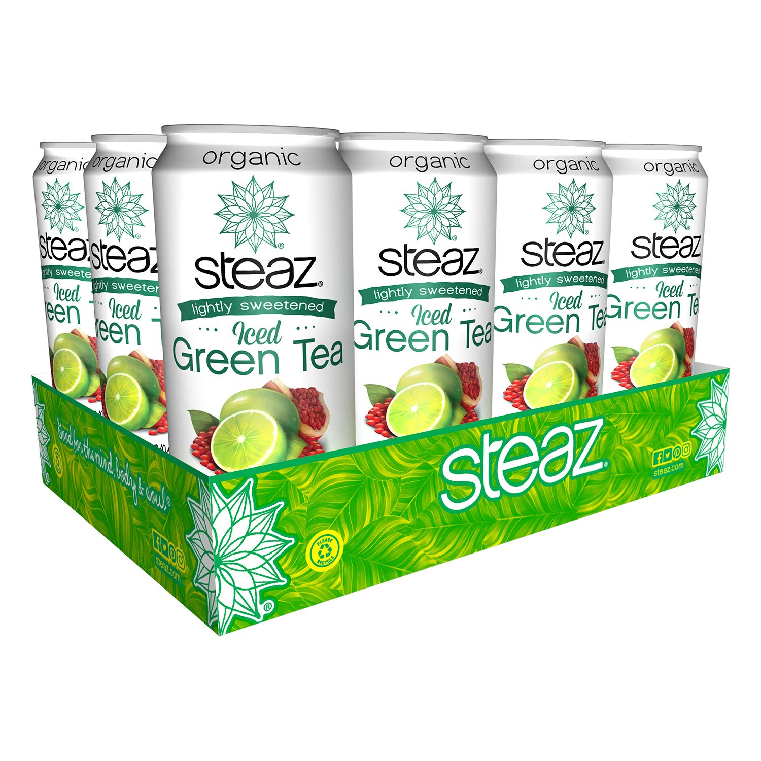 Steaz Lightly Sweetened Green Tea Lime Pomegranate Case of 12 16 Fl Ounce, 16 Ounce