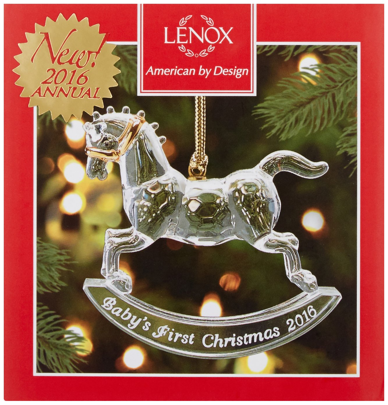 Amazon: Lenox 2016 Baby's First Christmas Rocking Horse Crystal Ornament:  Home & Kitchen