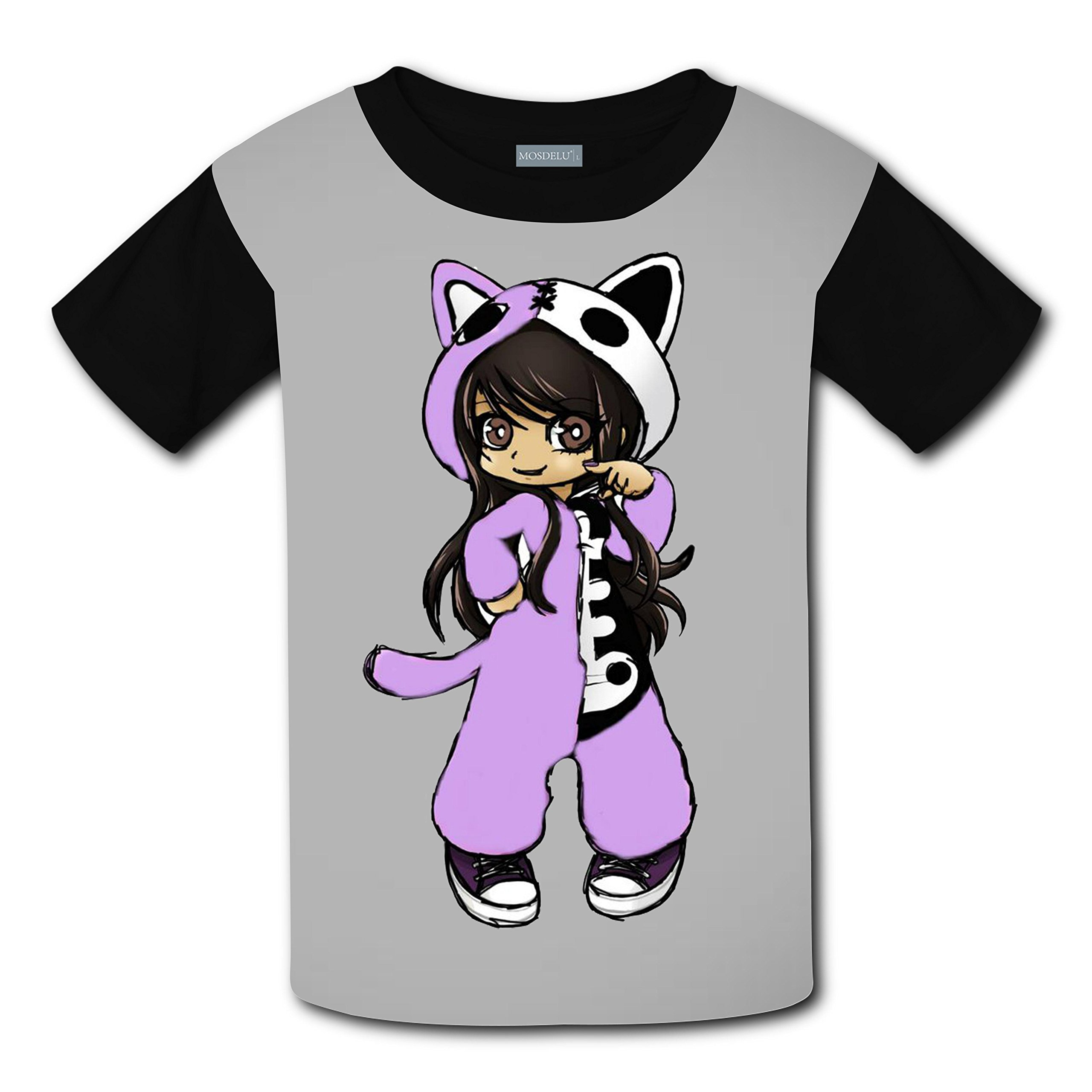 Unisex Kids Aphmau Cat 3D Printed Round Collar Short Sleeve T- Shirt