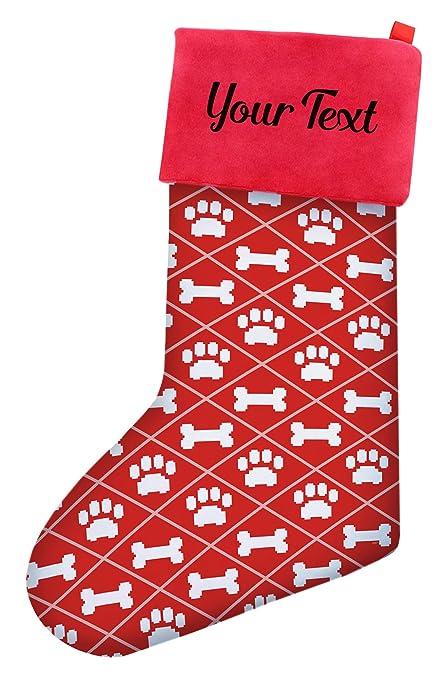 Christmas Stockings For Dogs.Custom Christmas Stockings Dogs Christmas Dog Bone Pawprint Pattern Christmas Stockings Dog Lovers Personalized Stockings Custom Christmas Stocking