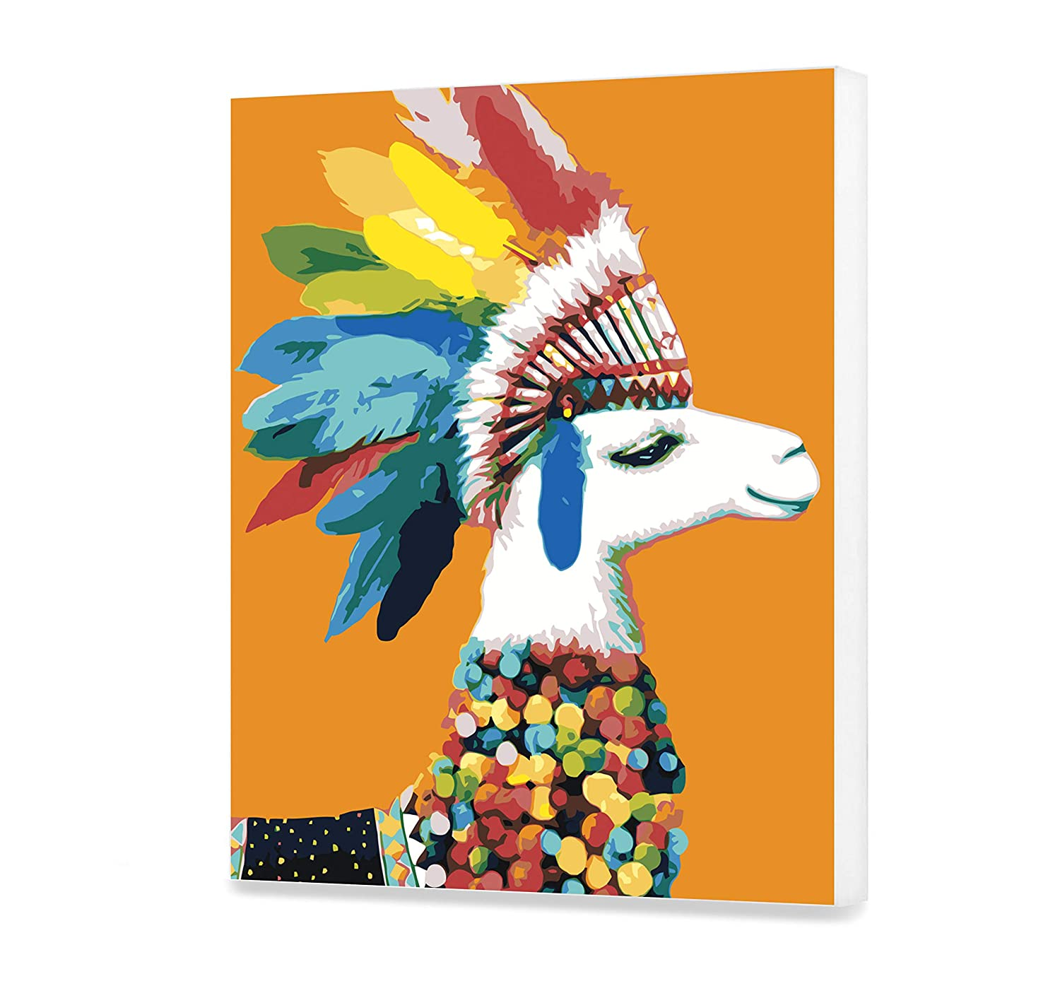 Lama Home Decor DIY Adult Touched Lama Painting by Numbers Colorful Picture Divided by Numbers Kare Design Kit for Adult with Unique Design Perfect Gift