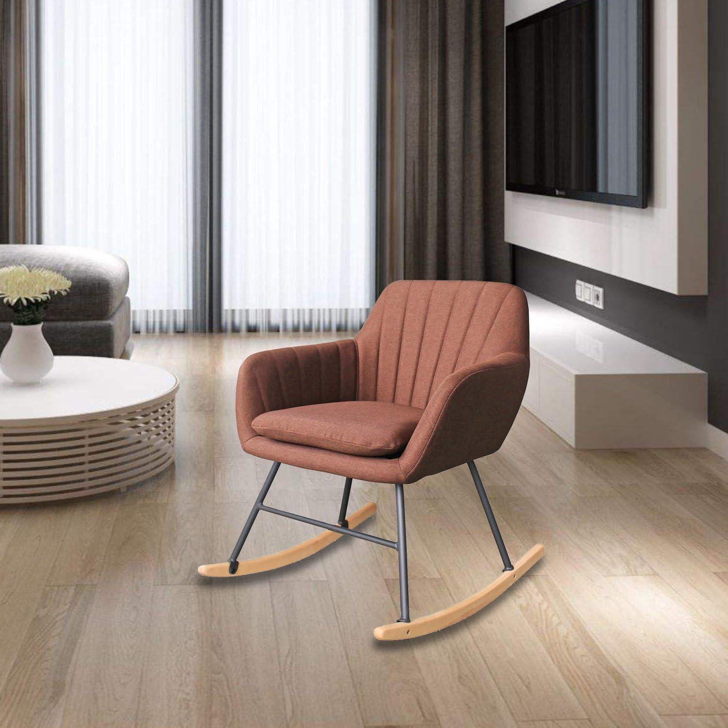 HENGMEI 61 x 76 x 79 cm Schaukelstühle Braun Relaxstuhl Schaukelsessel Schwingstuhl für Wohnzimmer, Esszimmer, Balkon, Schlafzimmer, Garten und
