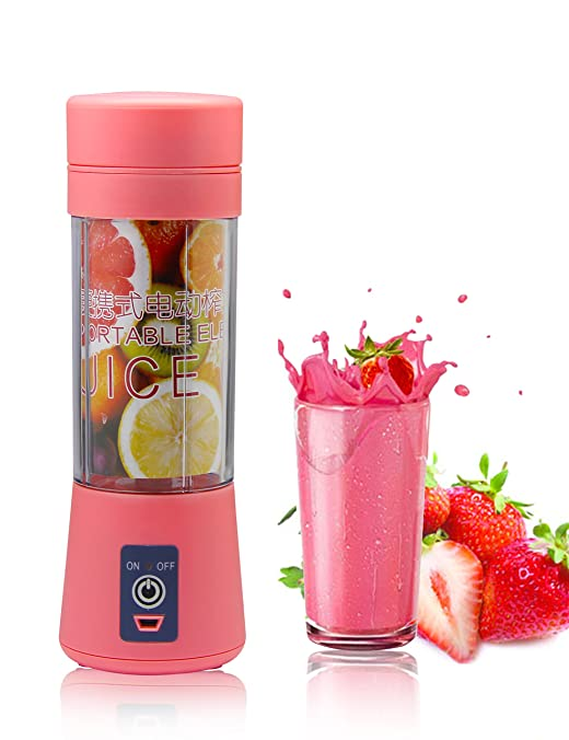 Topfit USB Juicer Cup, Fruit Mixing Machine, Portable Personal Size Eletric Rechargeable Mixer, Blender, Water Bottle 380ml with USB Charger Cable for Sports, Working, Kitchen, Dining (Pink)