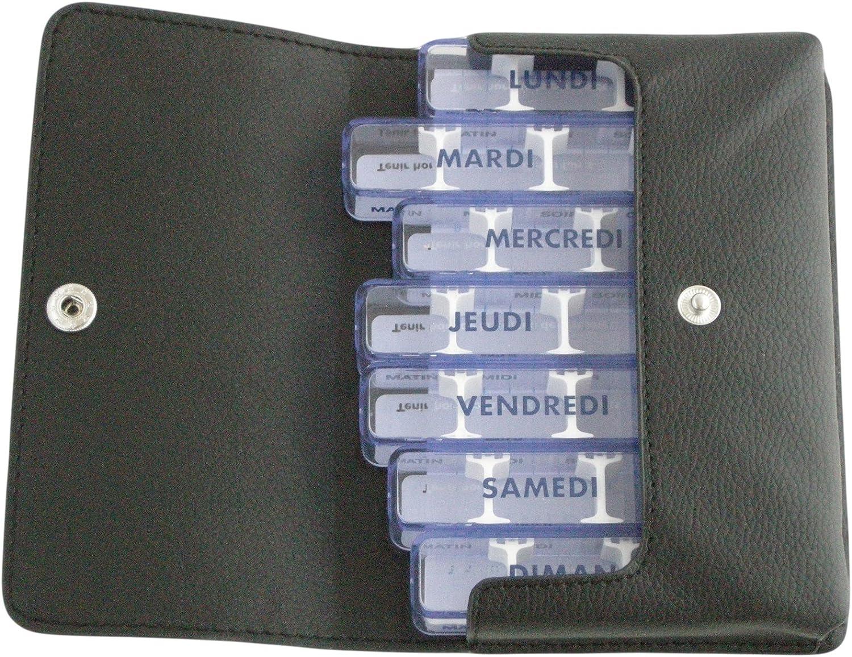 Pastillero semanal, medidos-simili, Negro, Francés, en estuche de bolsillo, individuales 7 días, 28 compartimentos modulables), para medicamentos poco) impermeables. Etui Ultra suave, agréable tacto. Dimensión de la – Estuche que contiene 7