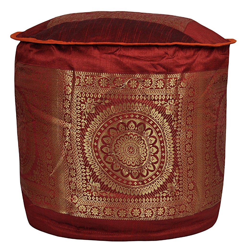 Lalhaveli Elegant Handmade Mandala Work Silk Pouf Ottoman Cover 17 X 17 X 12 Inches OTM01192