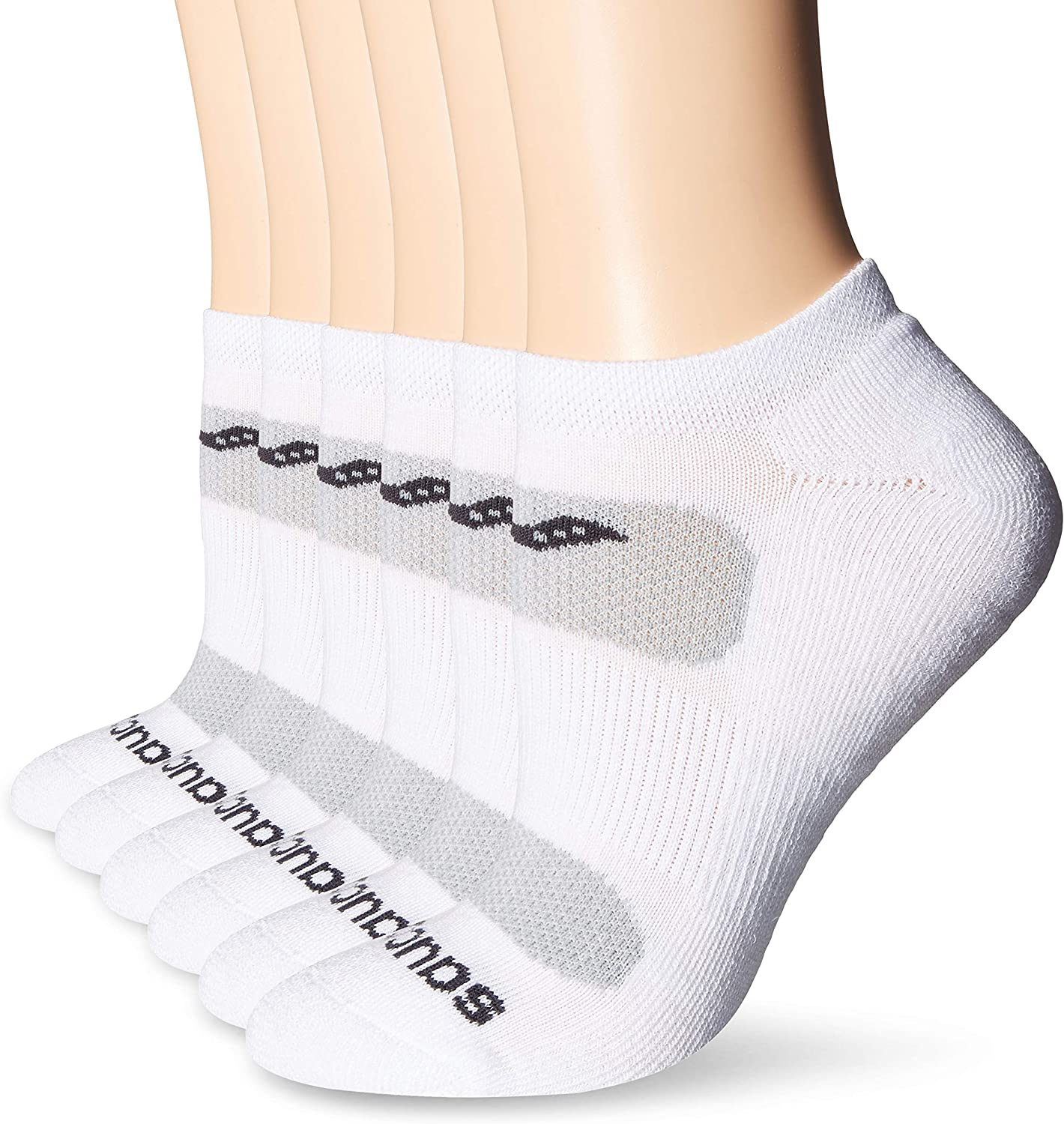 Saucony Women's 6 Pairs Vented Cushioned No Show Performance Running Socks, Grey, Shoe Size: 5-10 at  Women's Clothing store