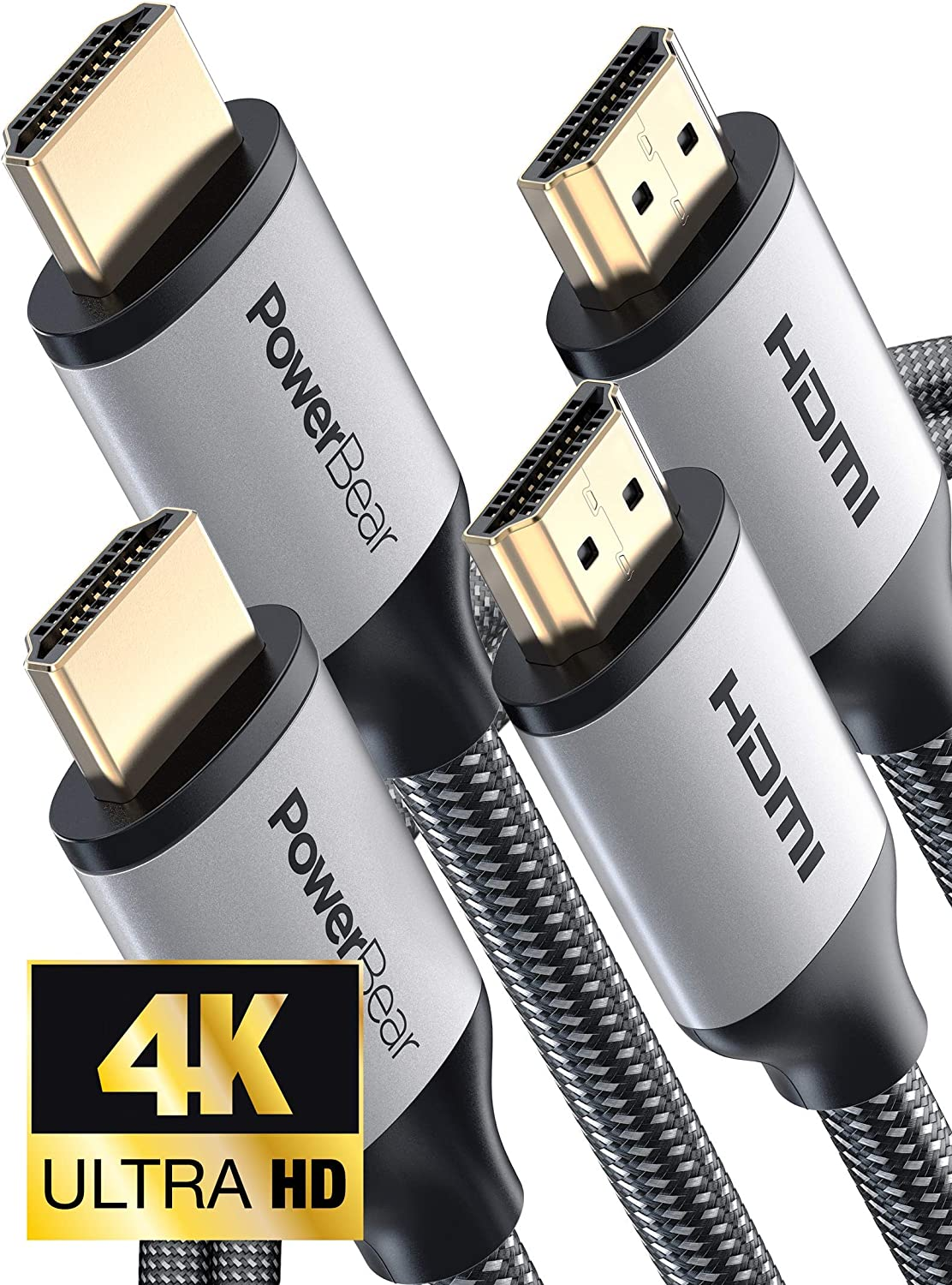 PowerBear HDMI Cable 10Ft 10 Feet 10/' Ultra-HD UHD 2 Pack 4K HDMI 2.0 Cable