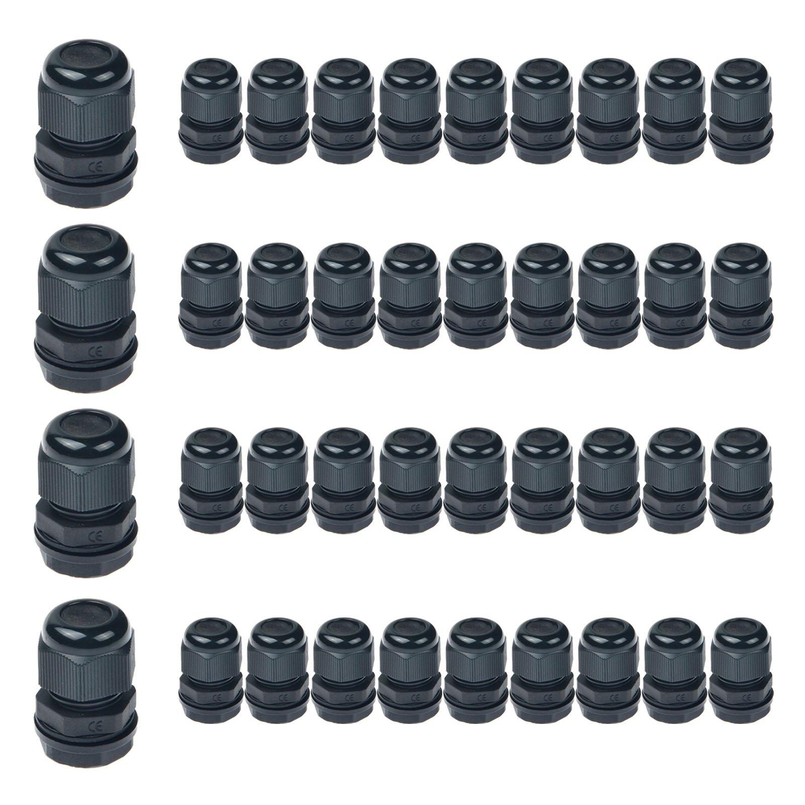 Nineleaf 40PK Black Compression Cable Gland Adjustable 6 - 12mm Joint Cable Connector, Higher Weatherproof Rating of IP66