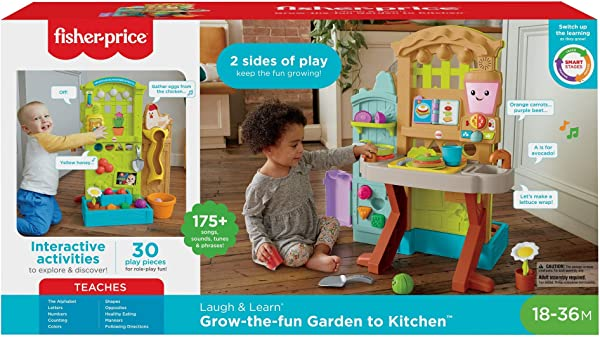 Fisher-Price Laugh & Learn Grow-the-Fun Garden to Kitchen toy for kids in package