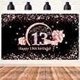 Lnlofen 13th Birthday Banner Backdrop Decorations for Girls, Extra Large 13 Year Old Birthday Party Decor Supplies, Rose Gold