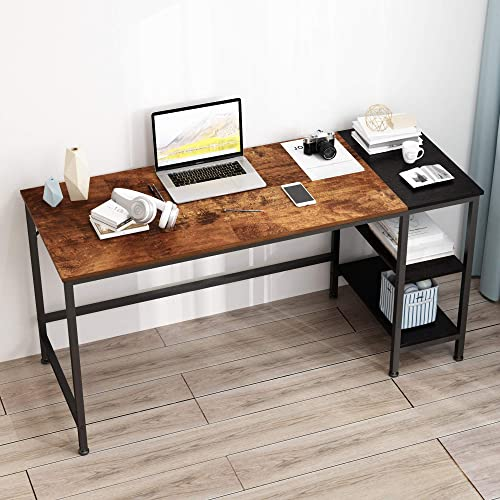MEGAFUTURE Computer Desk,Two-Layer Wooden Bookshelf Study Table,Laptop Table,Industrial Table Made of Wood and Metal Vintage Oak Finish .60 inches