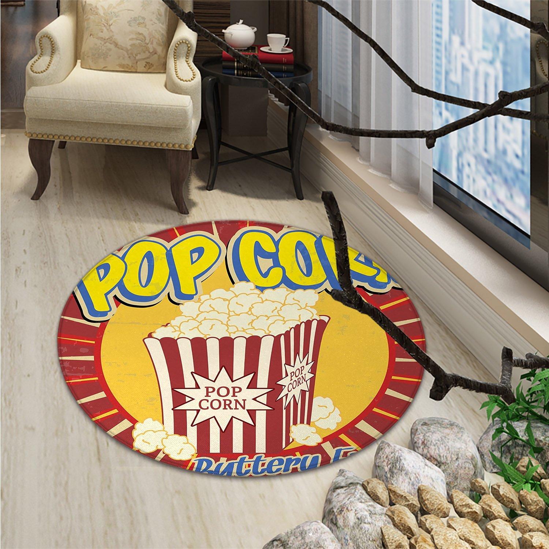 Retro Round Rugs Vintage Grunge Pop Corn Commercial Print Old Fashioned Cinema Movie Film Snack ArtsyOriental Floor and Carpets Multicolor