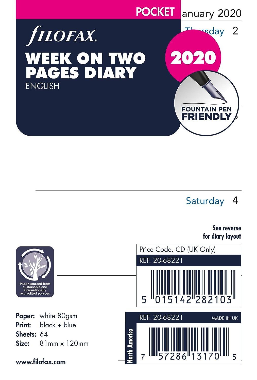 Filofax Agenda semainier de poche sur deux pages en anglais 2020
