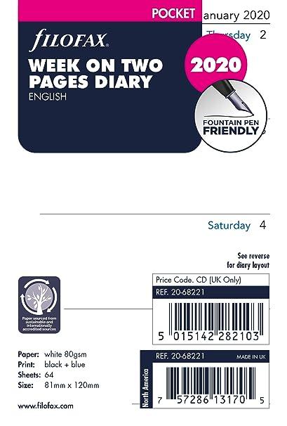 Filofax - Agenda de bolsillo (año 2020, 2 páginas): Amazon ...
