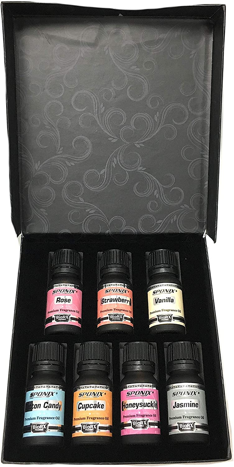 Top Fragrance Oil Gift Set - Best 7 Scented Perfume Oil -Cotton Candy, Frosted Cupcake, Honeysuckle, Jasmine, Rose Strawberry & Vanilla - Premium Grade - 10 mL by Sponix