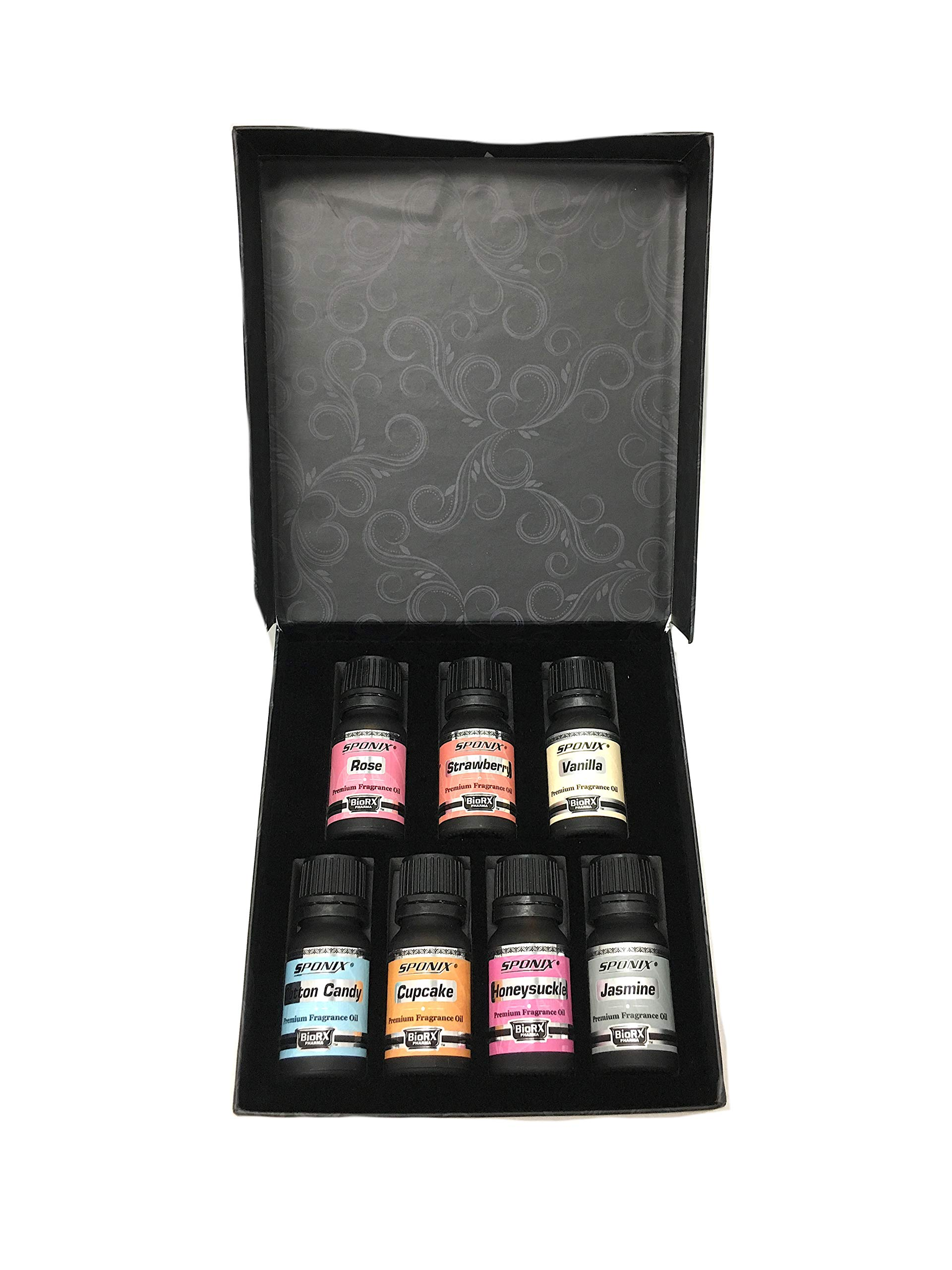 Top Fragrance Oil Gift Set - Best 7 Scented Perfume Oil -Cotton Candy, Frosted Cupcake, Honeysuckle, Jasmine, Rose Strawberry & Vanilla - Premium Grade - 10 mL by Sponix by Sponix