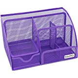 EasyPAG Mesh Desk Organizer Office Accessories Caddy 5 Compartments with Drawer,Purple