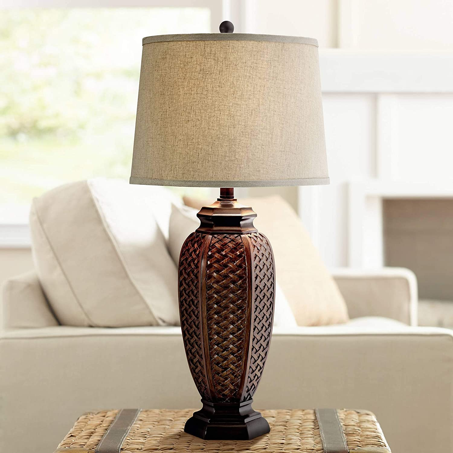 Country Cottage Tropical Style Table Lamp Brown Woven Wicker Pattern Beige  Linen Drum Shade Decor for Living Room Bedroom House Home Dining Office ...