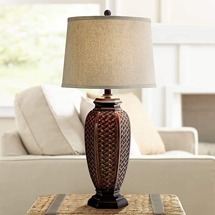 Tropical Table Lamp Woven Wicker Pattern Beige Linen Drum Shade for Living Room Family Bedroom Bedside Nightstand - Regency Hill