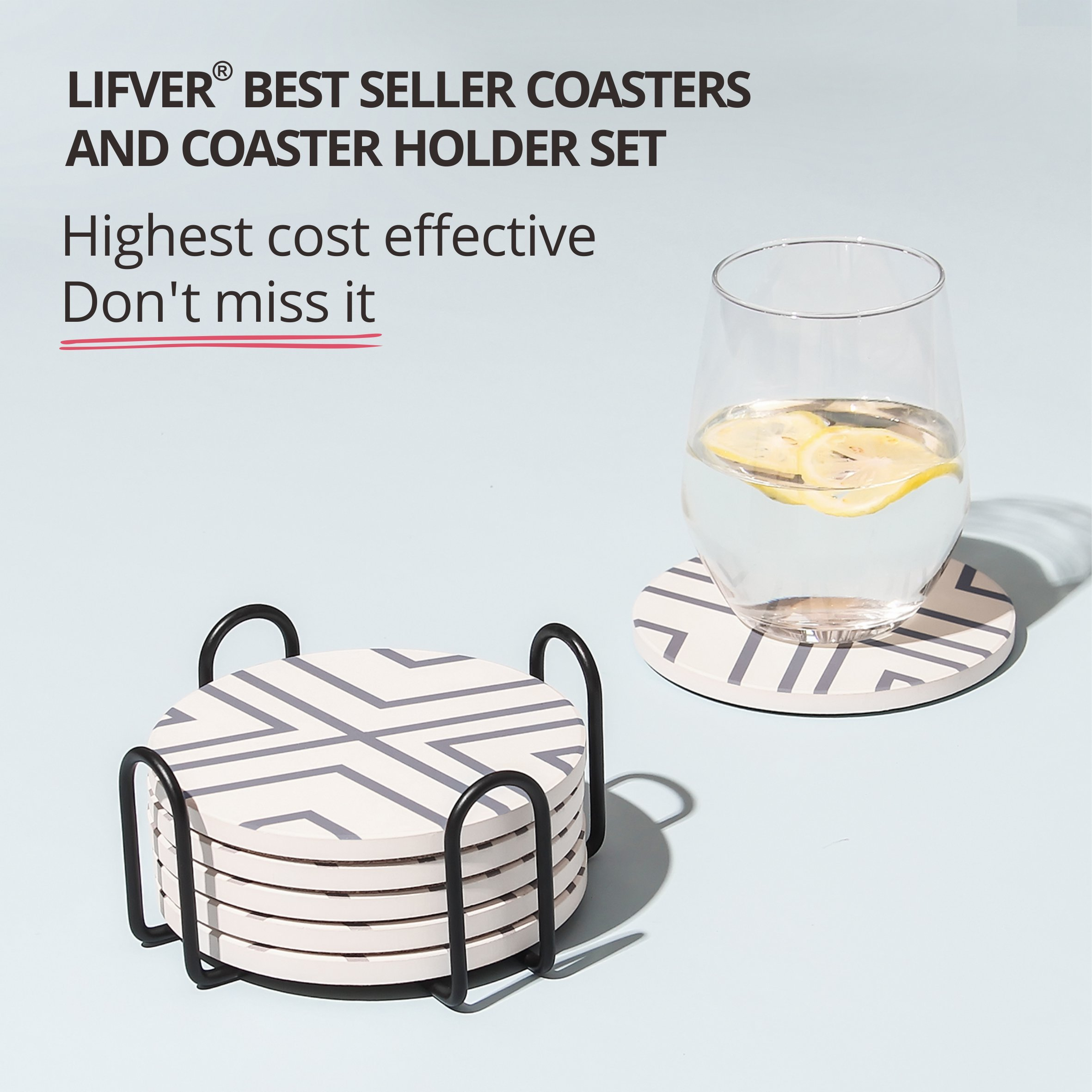 Lifver 6 Piece Absorbent Stone Coaster Set With Holder,Drink Spills Coasters, Grey-Lines by DAPRIL (Image #4)