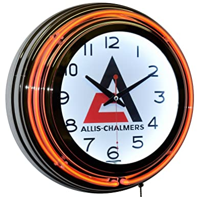 Allis-Chalmers Logo Orange Double Neon Advertising Clock