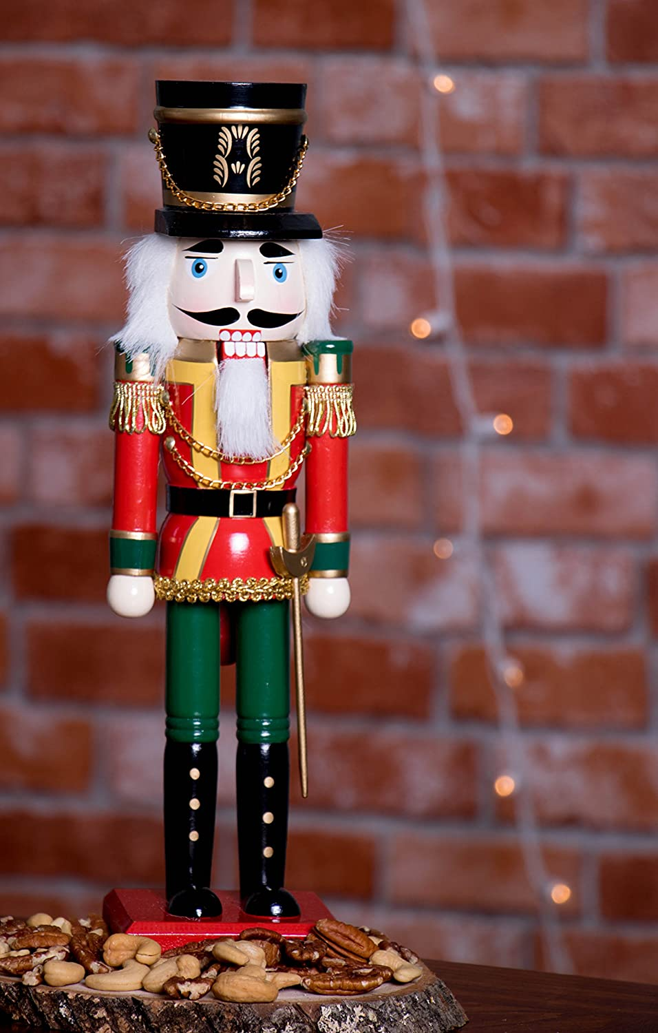Classic Collectible Nutcracker 14 Tall Perfect for Shelves and Tables/… Perfect for Any Decor Theme Festive Christmas Decor Traditional Wooden Soldier Nutcracker with Sword| Red and Green