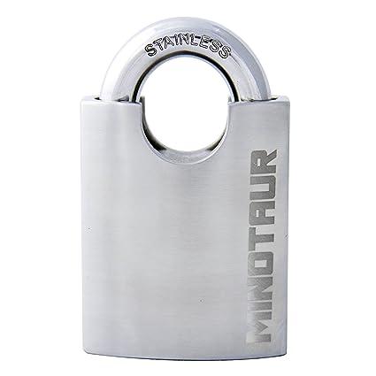 Minotauro alta seguridad acero inoxidable disco Detainer candado con grueso candado de llave con horquilla cerrada
