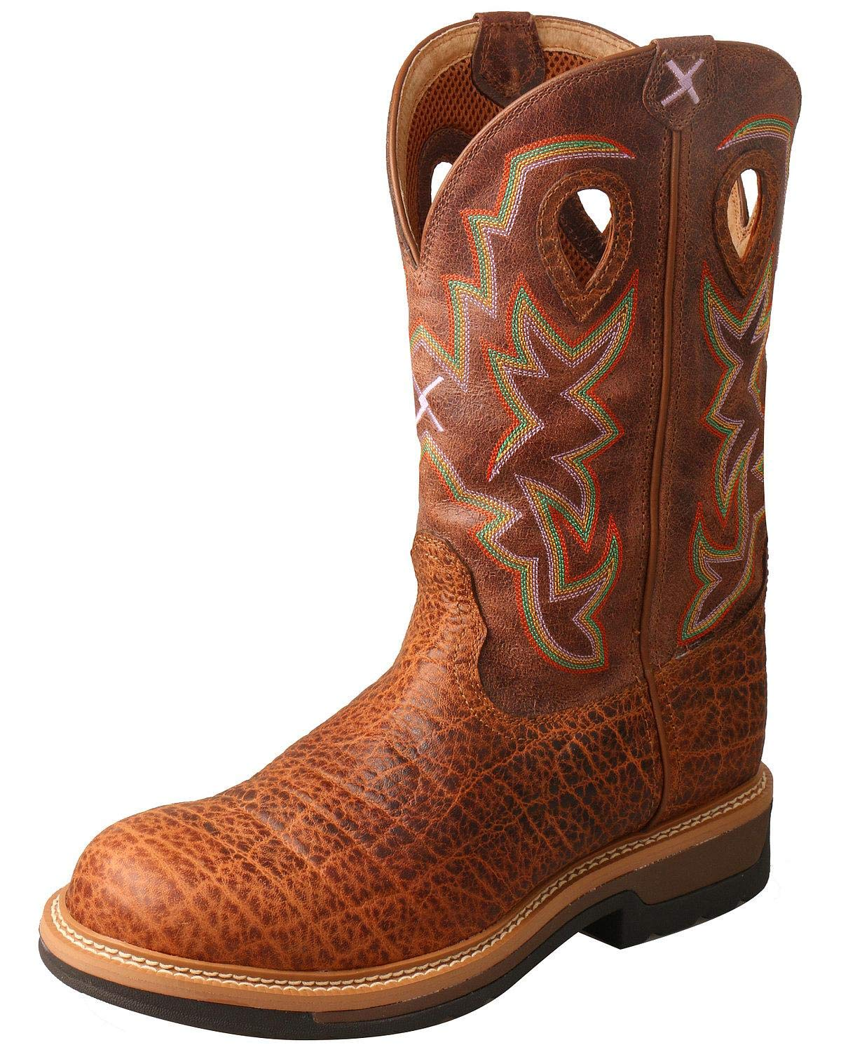 Twisted X Men's Lite Cowboy Elephant Print Western Work Boot Round Toe Tan 10.5 EE by Twisted X