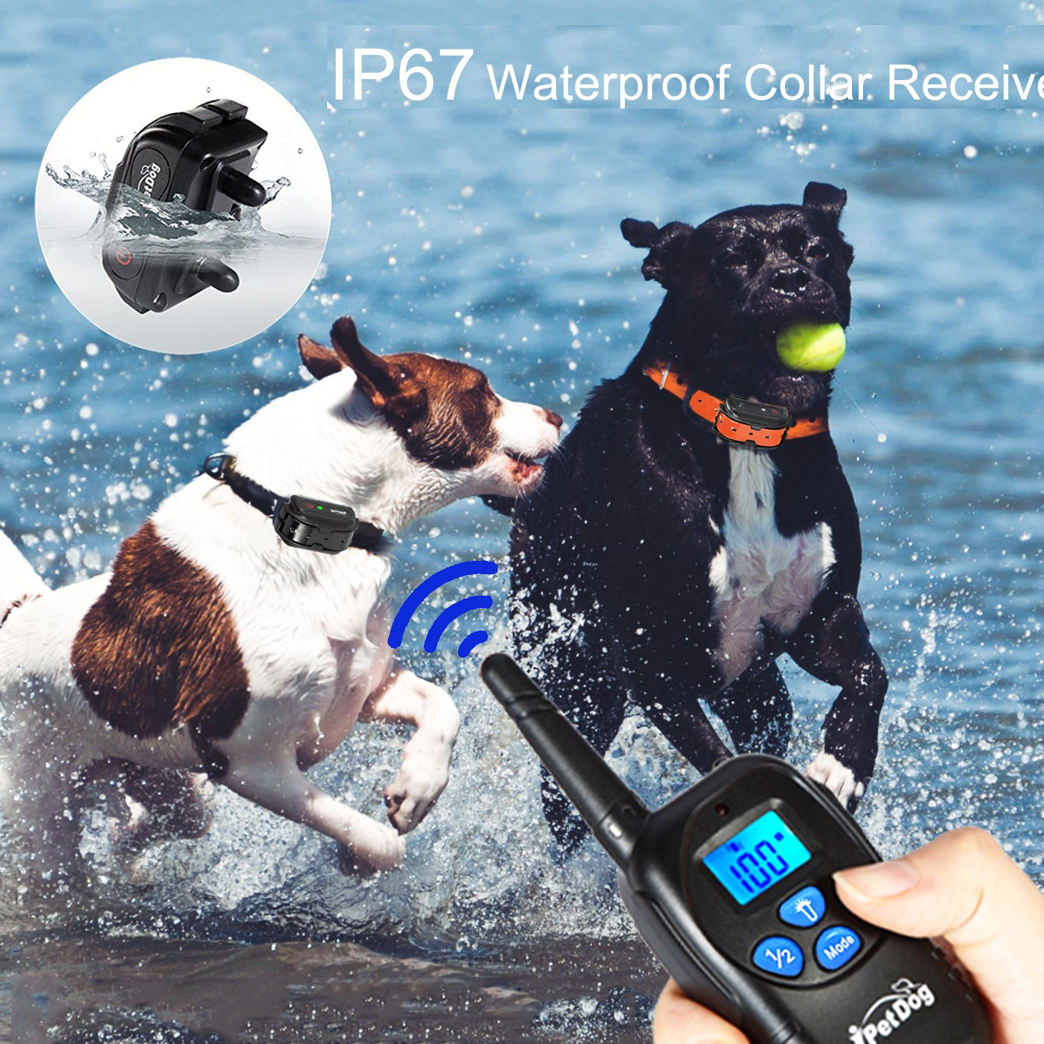 Fettish Dog Training Collar Rechargeable & Waterproof Electric Remote Dog Shock Collar with LED Light Beep Vibration Safety Shock Modes for Small/Medium/Large Training Collars by Fettish (Image #5)