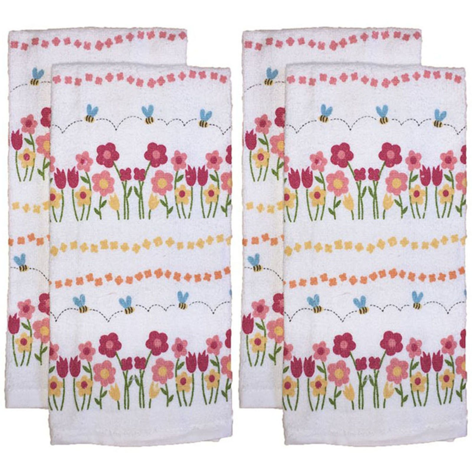 Set of 4 Everyday Basic Printed Terry Kitchen Towels Size : 15'' x 25'' - Floral Collection - Red Floral