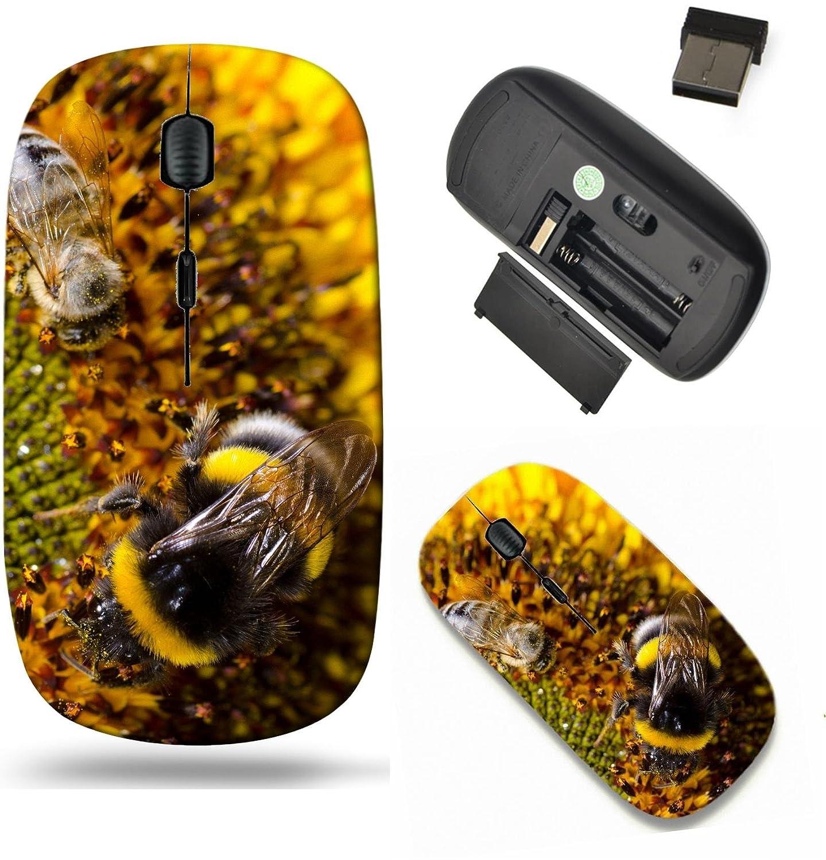 Liili ワイヤレスマウス 旅行 2.4G ワイヤレスマウス USBレシーバー付き 1000DPIでクリックすると、ノートブック、PC、ノートパソコン、コンピュータ、MacBookのID: 27560661 ひまわりのバンブルビーをひまわりに閉じます。   B07D23MWP7