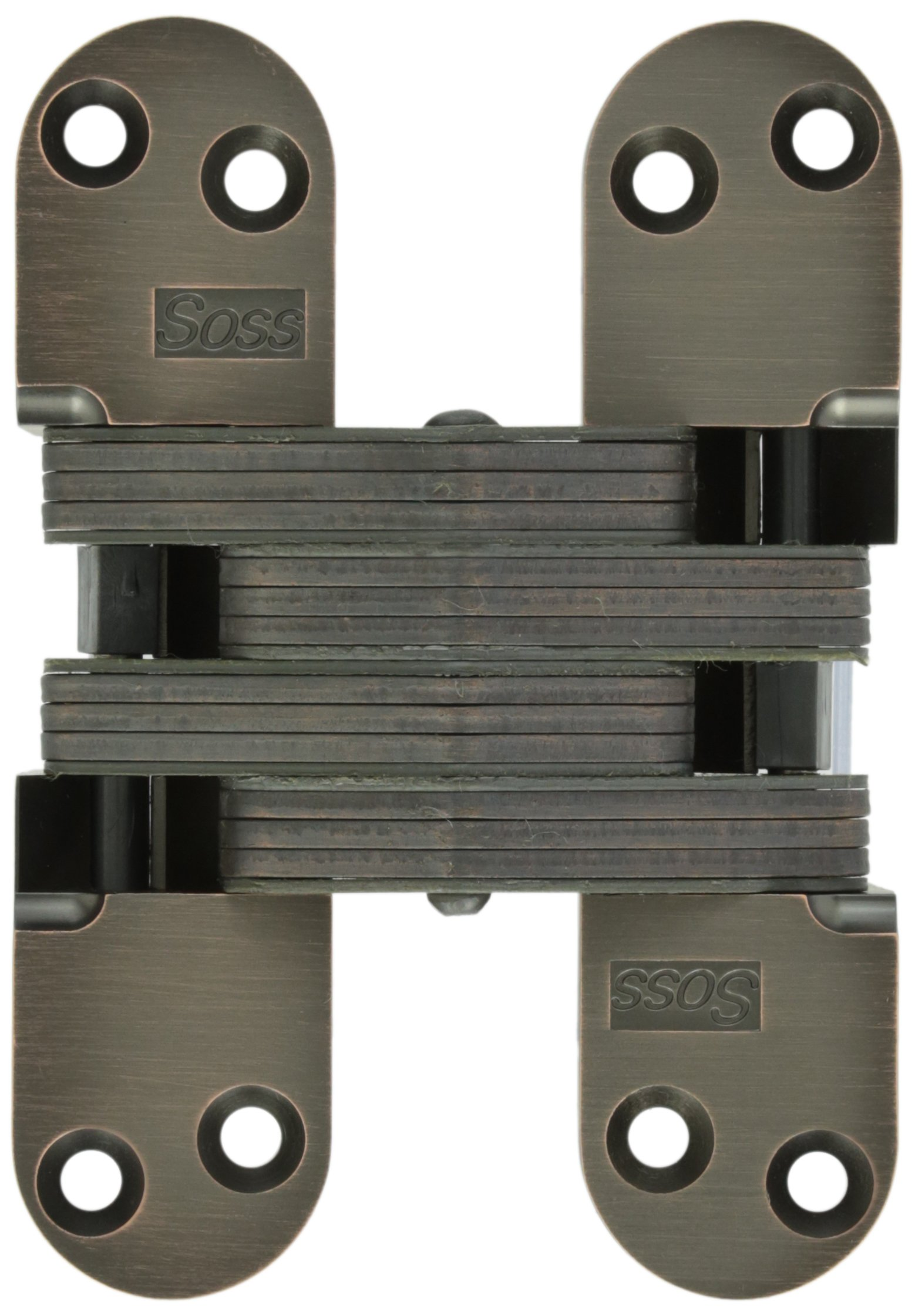 SOSS 220 Zinc Invisible Hinge with Holes for Wood or Metal Applications, Oil Rubbed Bronze Exterior Finish