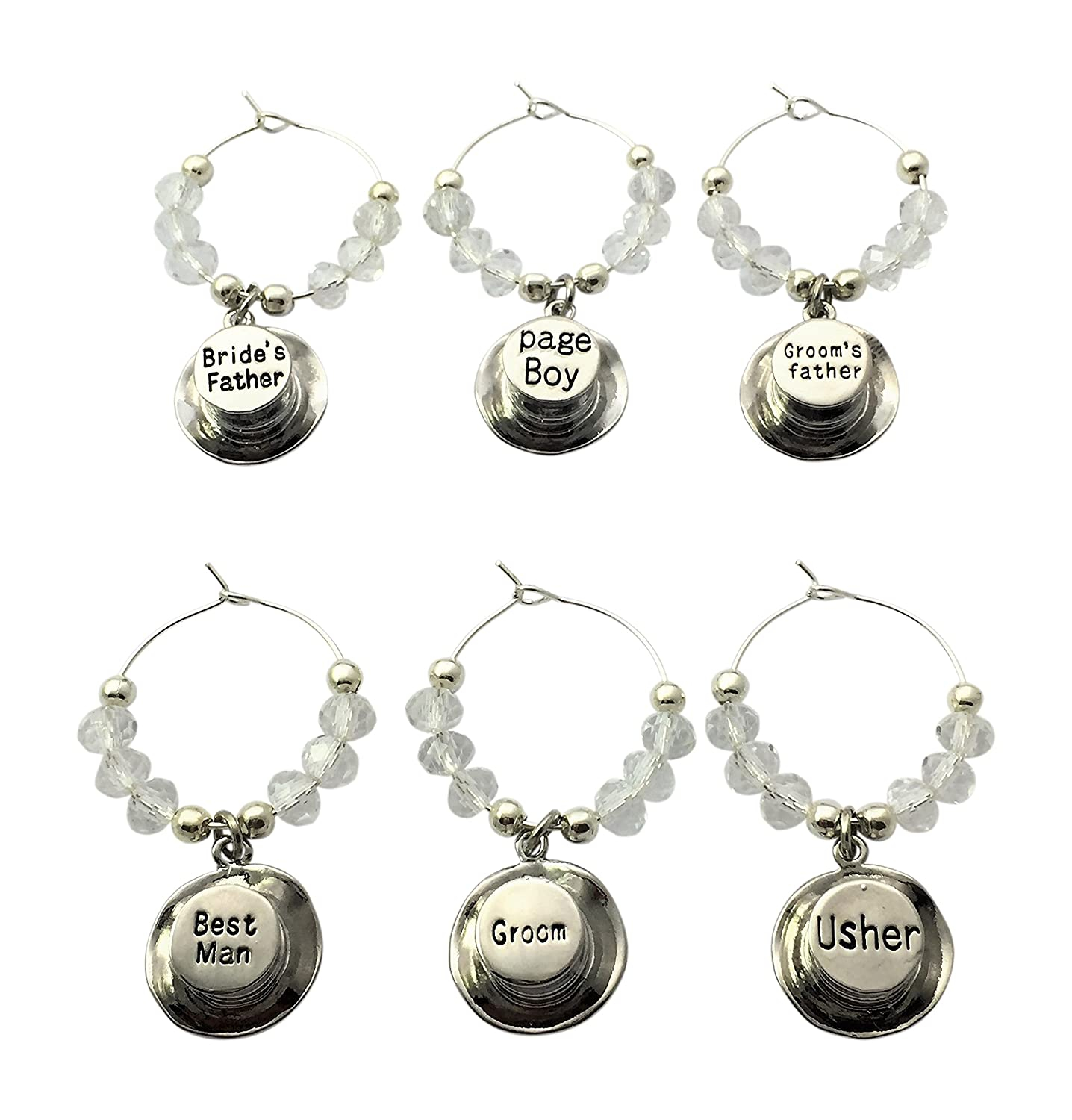 Groom Best Man etc Top Hat Wine Glass Charms Best Man ~ Top Hat Wedding Wine Glass Charms Bridesmaid Hen Night Wine Glass Charms with Gift Card by Libbys Market Place ~ 20 Different Wedding Party Option ~ Bride