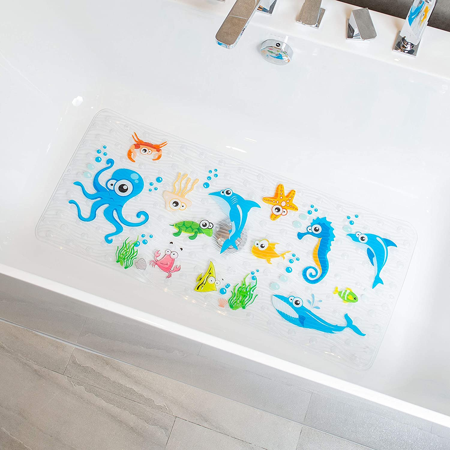BeeHomee Cartoon Non Slip Bathtub Mat for Kids 35x16 Inch XL Large Size Anti Slip Shower Mats for for Toddlers Children Baby Floor Tub Mats Alphabet