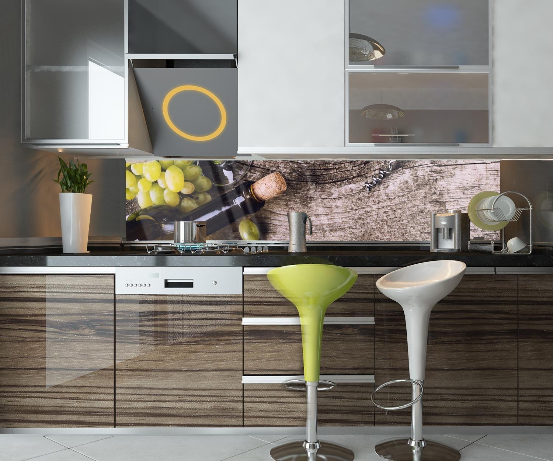 wandmotiv24 Cocina pared trasera Botella de vino blanco y uvas en una mesa antigua Design M0838 240 x 50 cm (ancho x alto) - Vidrio acrílico 4mm Pared ...