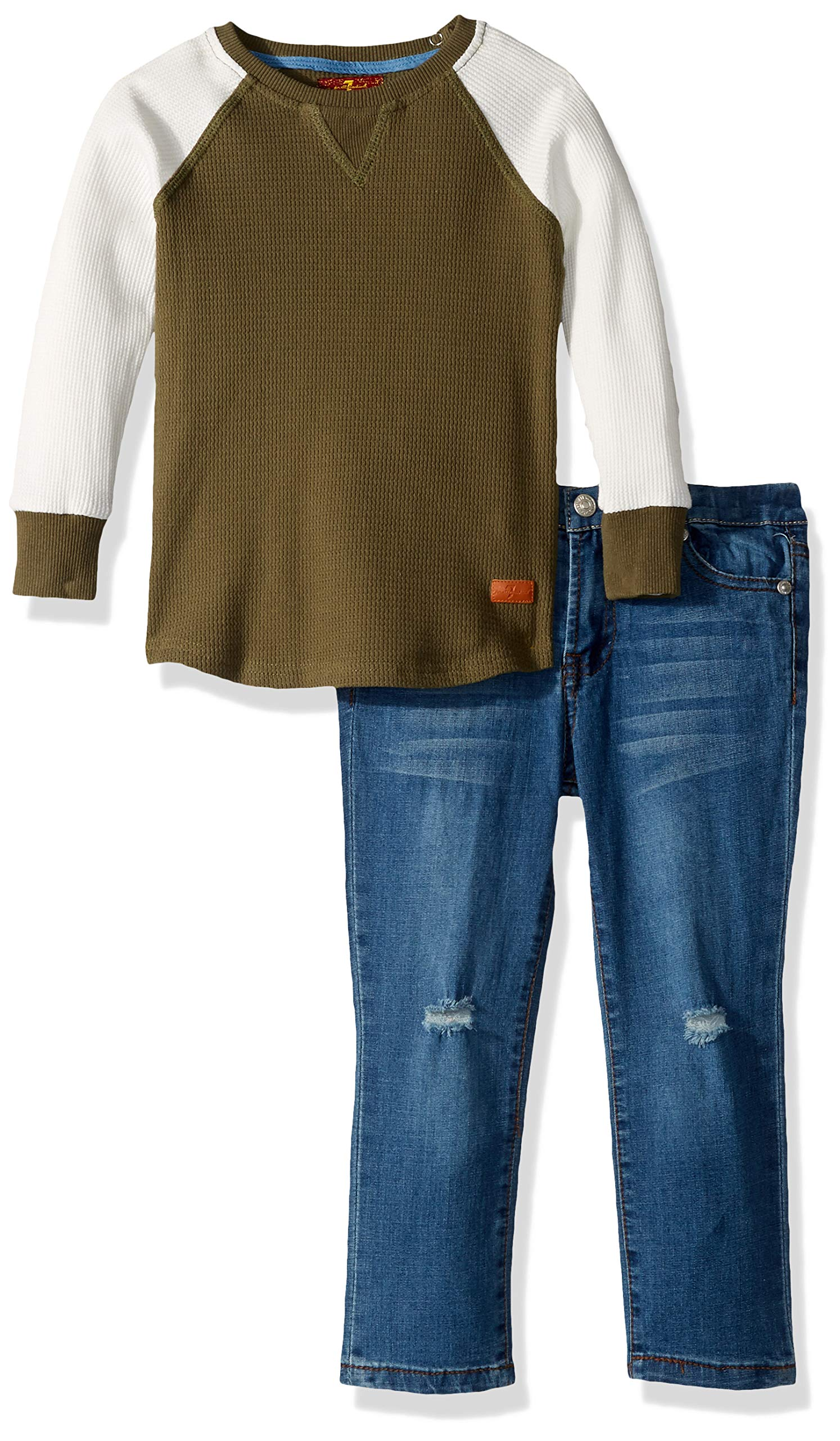 7 For All Mankind Boys' Toddler Thermal Shirt and Denim Jean Set
