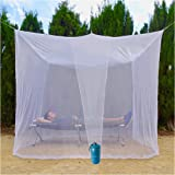 EVEN Naturals Luxury MOSQUITO NET for Bed Canopy, Large Tent for Full, Double to King Size, Finest Holes, Square Box Netting Curtain, 2 Entries, Easy to Install, Hanging Kit, Storage Bag, No Chemicals