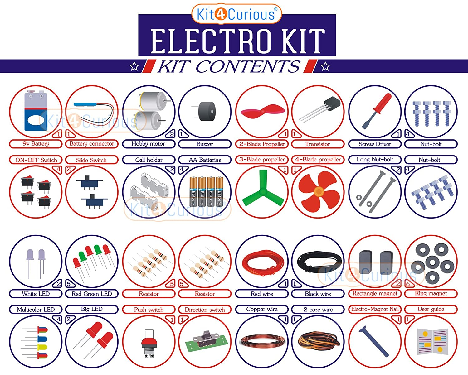 Kit4curious Electro Kit Electronic Diy Components With Guide Amazon 9v Battery Eliminator Circuits Kits Doityourself Industrial Scientific