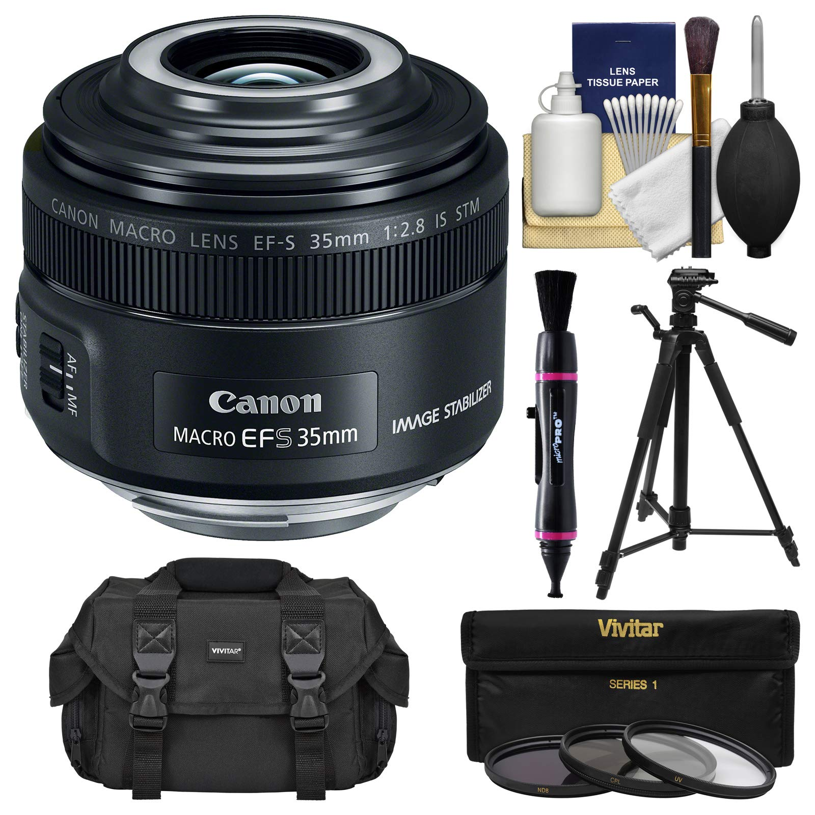 Canon EF-S 35mm f/2.8 Macro is STM Lens with Built-in Macro Lite with Case + 3 Filters + Tripod + Kit by Canon