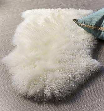 Exceptional Super Area Rugs, Genuine Australian Sheepskin Rug One Pelt Ivory Natural  Fur, Single