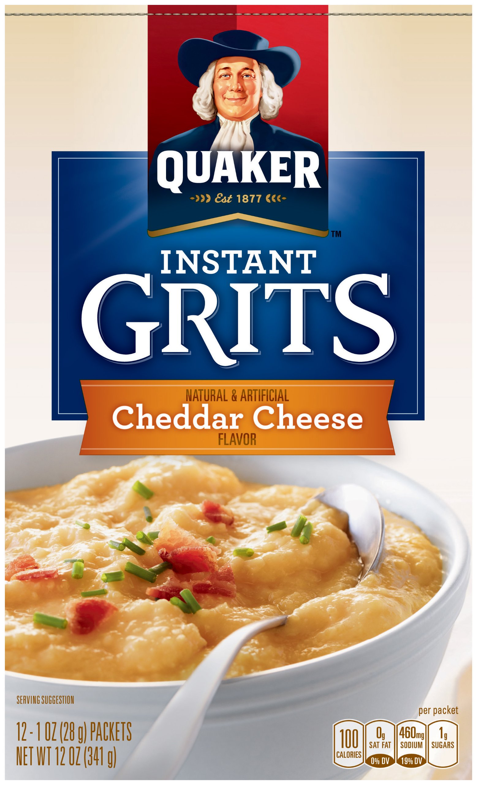 Quaker Instant Grits Real Cheddar Cheese, 12-Count Boxes (Pack of 12) by Quaker